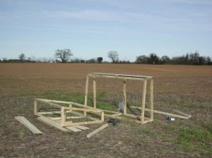 Timber carcass of the cold frames during assembly