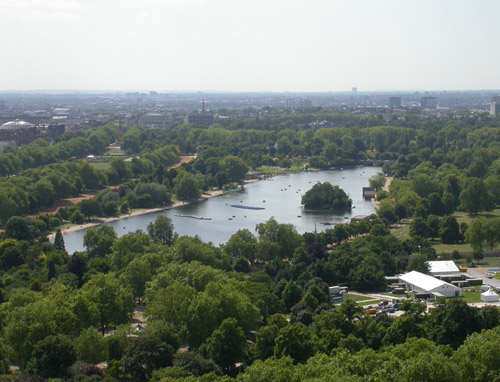 View over the Serpentine from Hyde Park corner