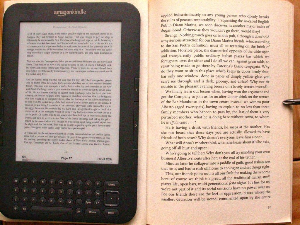 Kindle on a paperback book set in 10.5pt