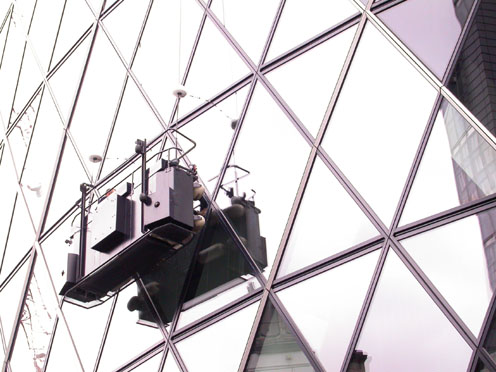 How you get to clean the windows of the Gherkin - looks like the hard way
