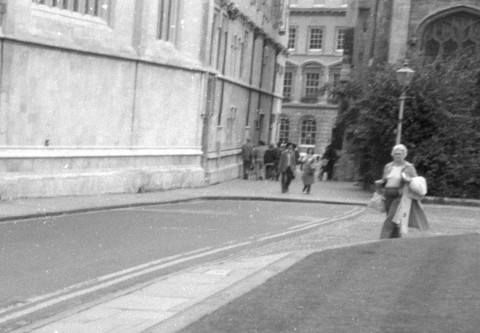 Somewhere in the dreaming spires of Oxford in 1978. I was pretty talentless as a phtogapher, I have improved the composition of this by cropping out the primary subjects artistically set against that blank wall on the left, though I left the jaunty angle :)