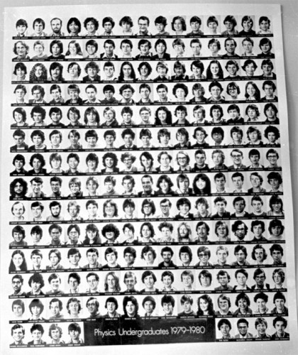 Physics intake 1979/80. Oy vey, look, no girls!  I was too cheap to buy the official photo, so I snuck this copy off the notice board and developed the film in digs