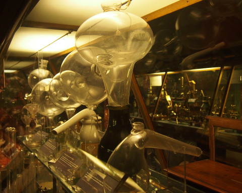 various historical lab glassware